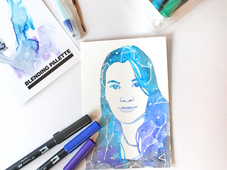 Paint a Watercolor Constellation Portrait with Tombow Markers