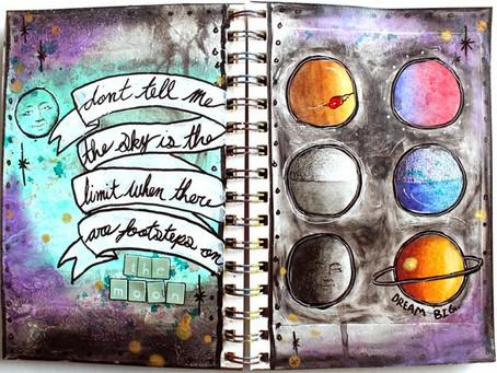 Galaxy/Moon Art Journal