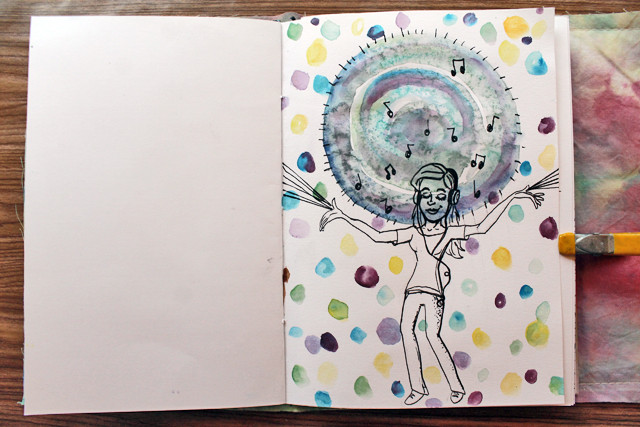 Happy Music | Art Journal page by @punkprojects