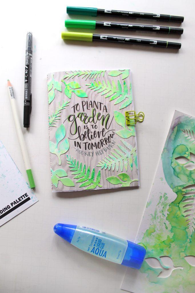 DIY Garden Journal by @punkprojects using @TombowUSA Dual Brush Pens and Irojiten Pencils