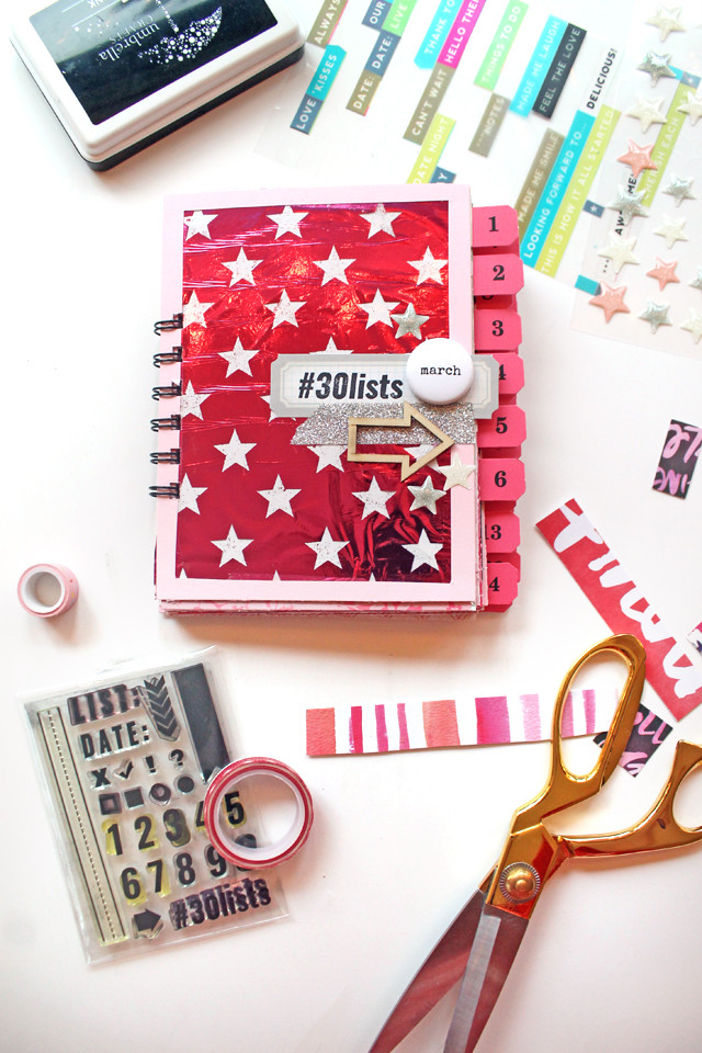@punkprojects shared how she preps her #30lists album for March 2016 using pink papers and the @heidiswapp minc.