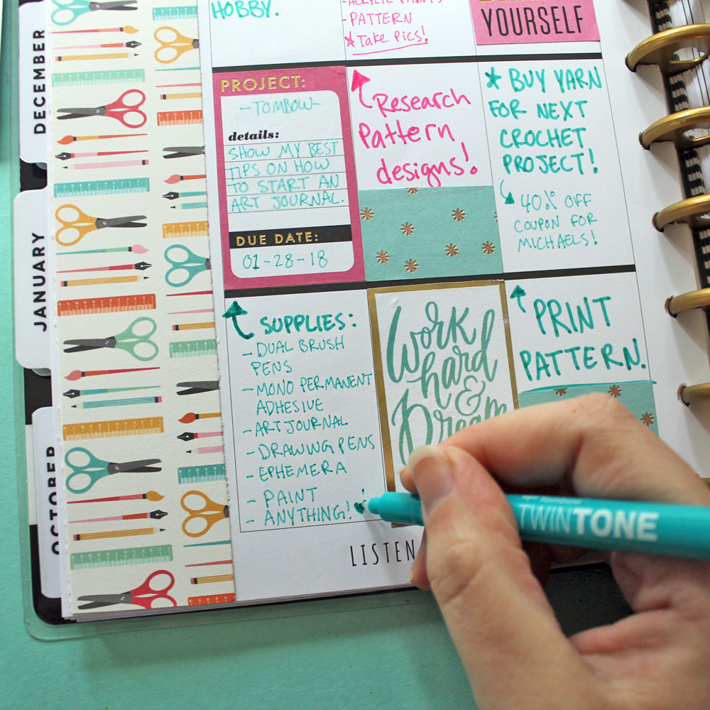 Organize your craft projects in your planner with @studio.katie
