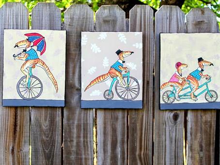 Paint + Paper- Tweed Dino Art