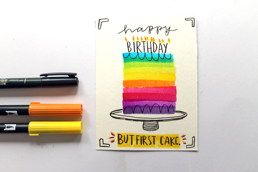 5 Minute Birthday Cards to DIY! Make these quick and easy birthday cards using Tombow markers!