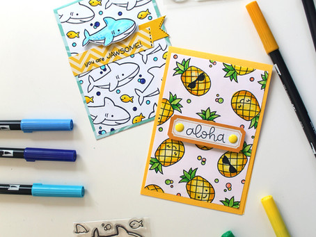 DIY Repeated Stamp Pattern   Tombow + Lawn Fawn Blog Hop!