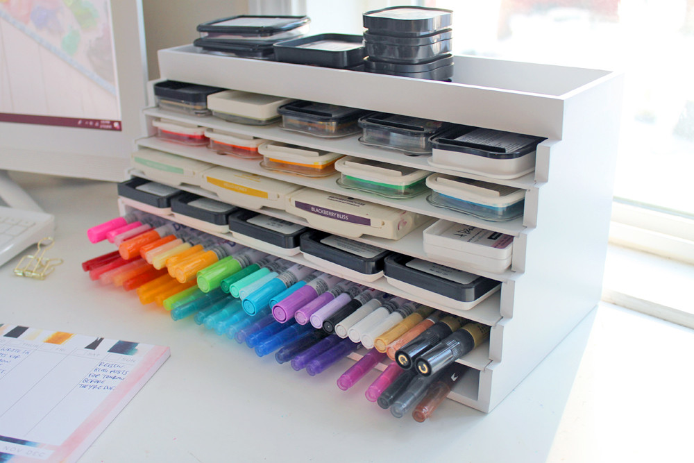 Need an easy shelf to hold your markers and/or inkpads? Read this review of the Desk Maid XL Pen & Ink Palace by Totally-Tiffany on the Studio Katie blog.
