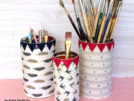DIY Ribbon Wrapped Tins to Hold Supplies!