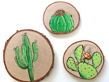 DIY Wood Burned Cactus Art