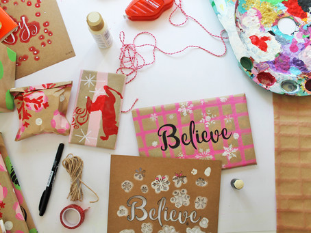 DIY Stenciled Wrapping Paper