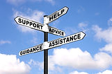 Signpost with the words Help, Support, A