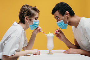 couple-wearing-face-mask-drinking-milksh