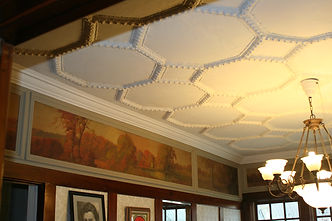 Historic Interior mural, coffered plaster ceiliing