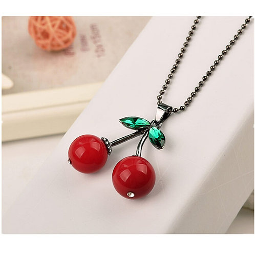 Crystal Red Cherry Necklace
