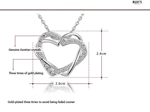 18k Plated Crystallized Heart Necklace