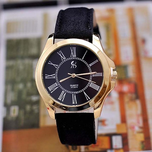 Gold Face Watch and Leather Strap