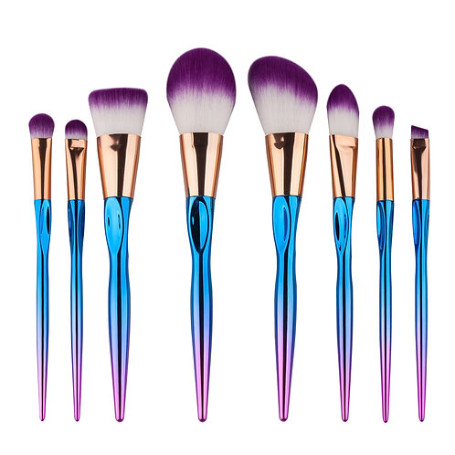 8 Piece Colorful Foundation Makeup Brush Set