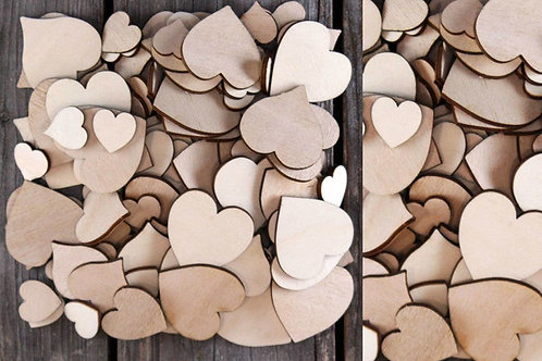 Pack of 50 Plywood heart