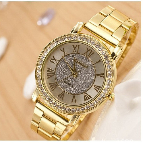 Gold Plated Crystal Face Watch