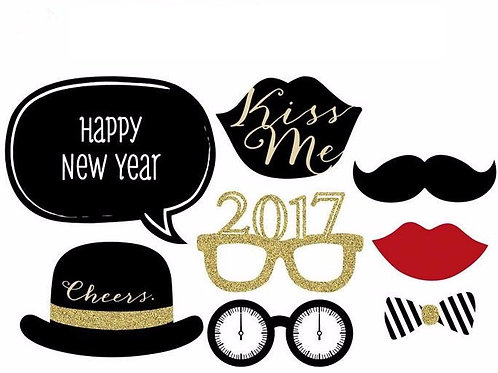 8 Pcs New year's Party Photo Props