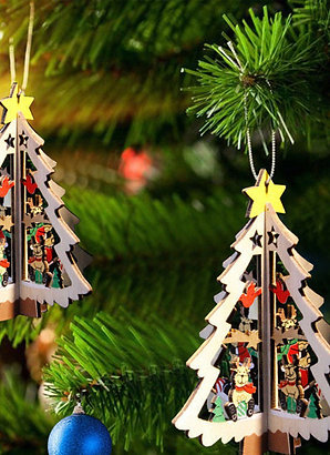 Pack of 5 3D Xmas Hanging Tree Pendant