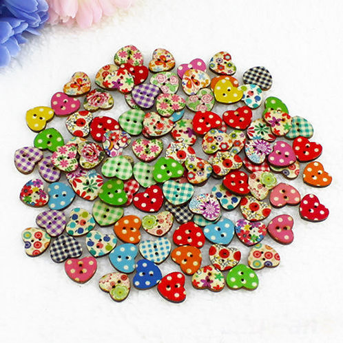 100 Heart Shaped Wooden Buttons