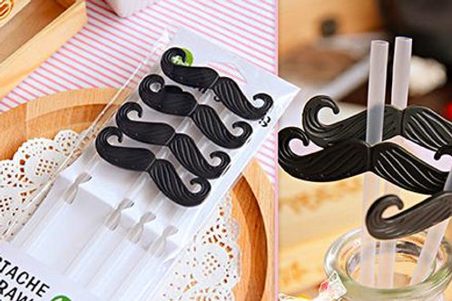 6 Pc Moustache Straws