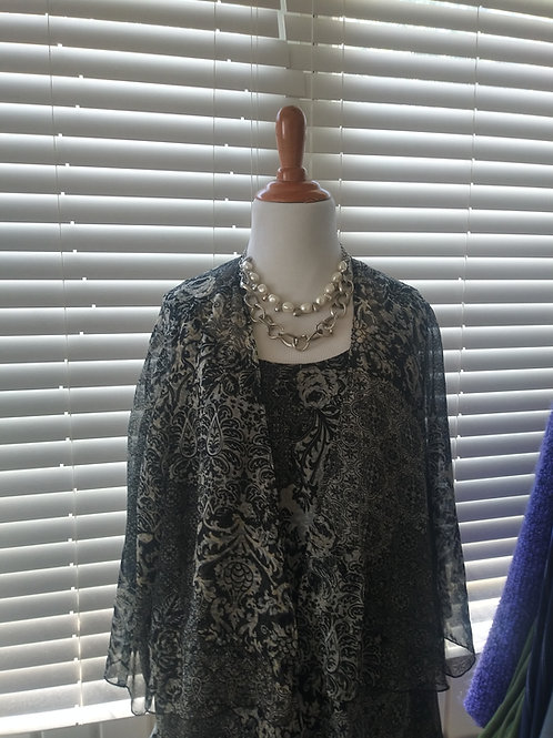black floral print cami w/sheer cover up