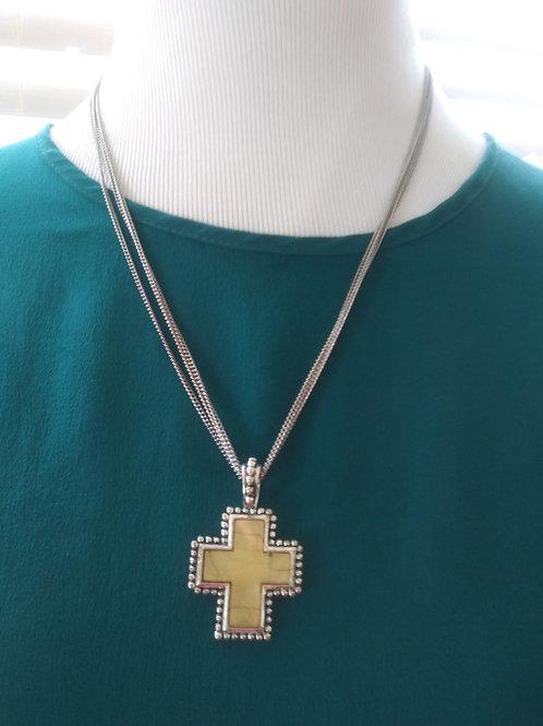 Yellow Stone Cross Necklace