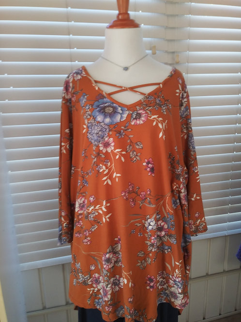 Floral Tunic - long w/3/4 sleeves
