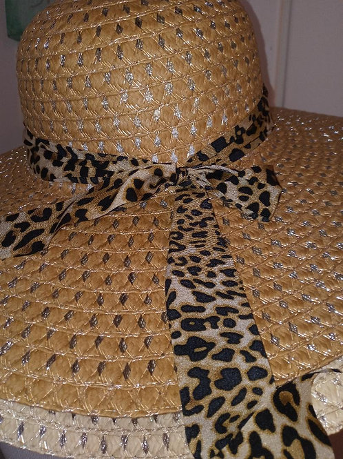 leopard ribbon hat