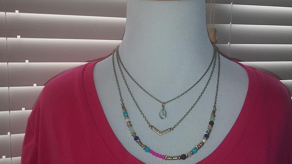 Fuschia T-shirt w/ 3pc necklace