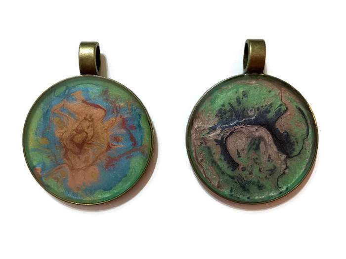 Antique bronze round pendants