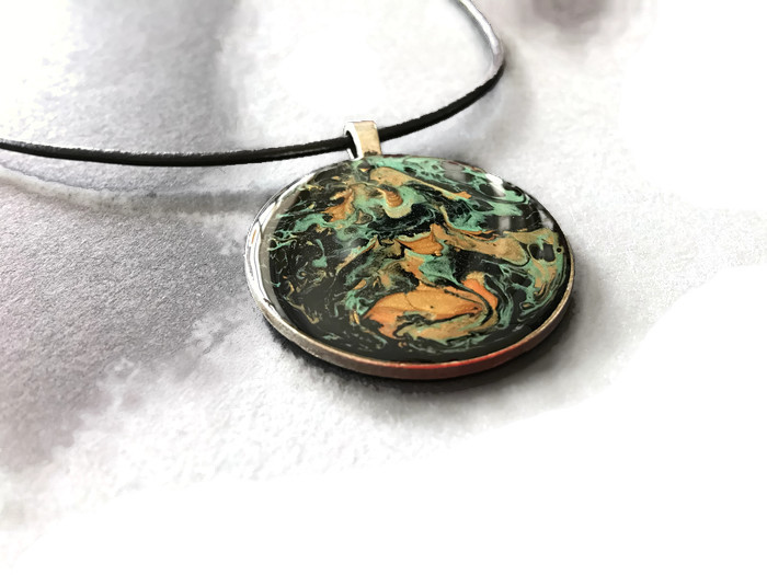 Hand painted round pendant