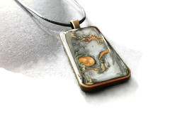 Hand painted rectangular pendant