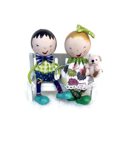 Handmade Wooden Dolly Couple