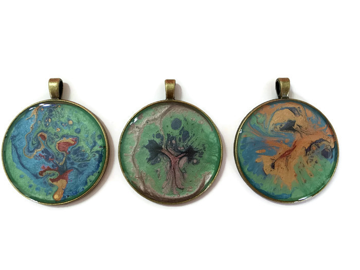 Antique bronze coloured pendants