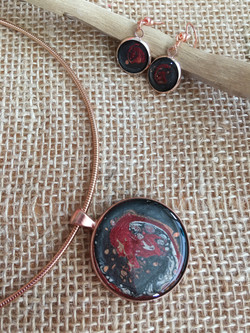 Rose gold hand painted pendant & ear