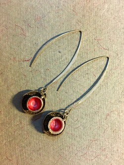 Tea cup earrings in cherry red