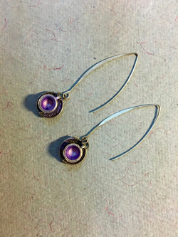Tea cup earrings in purple