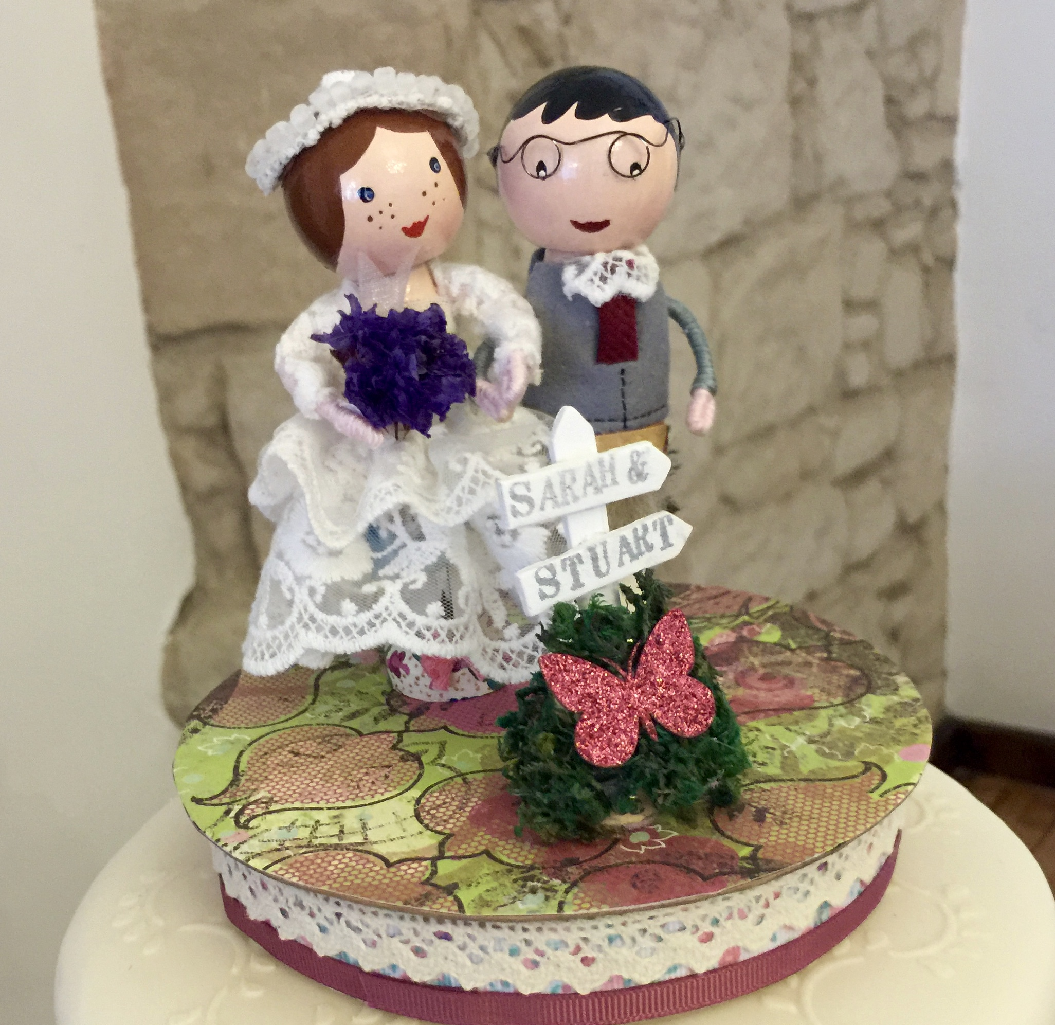 Peg doll bride and groom
