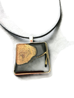 Hand painted square pendant