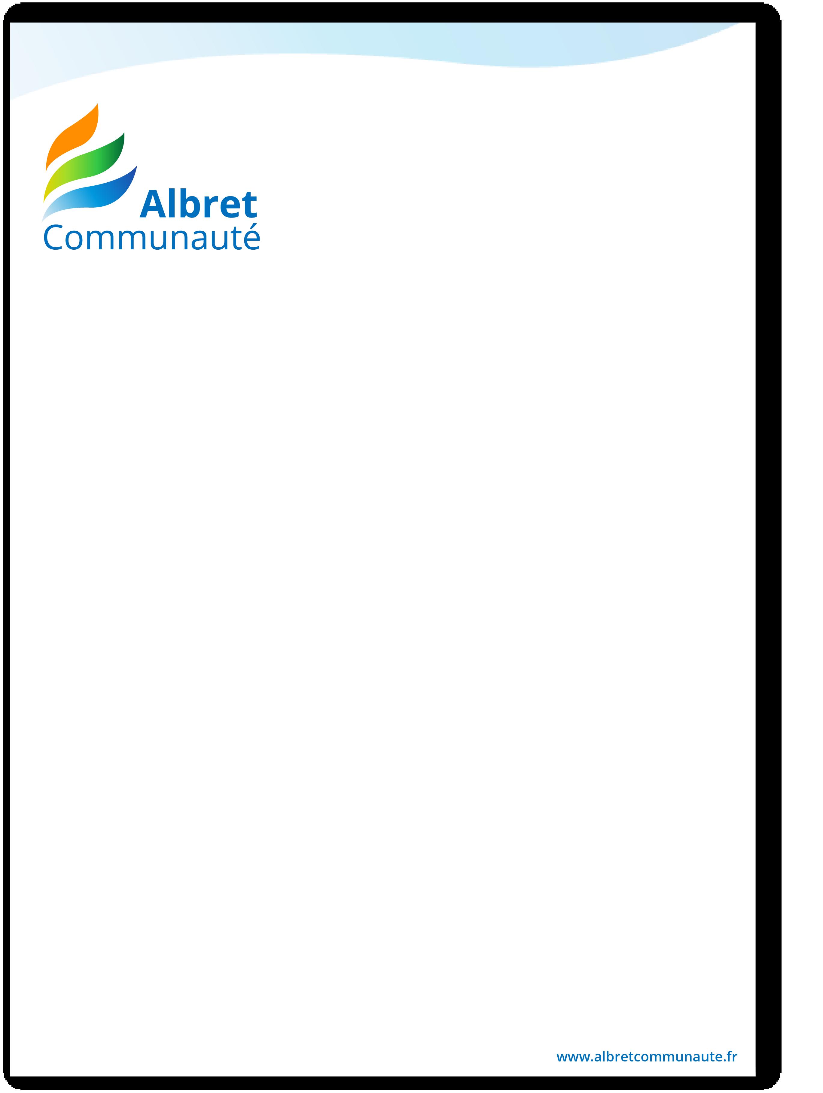 Exemple pochette recto charte graphique Albret Communauté