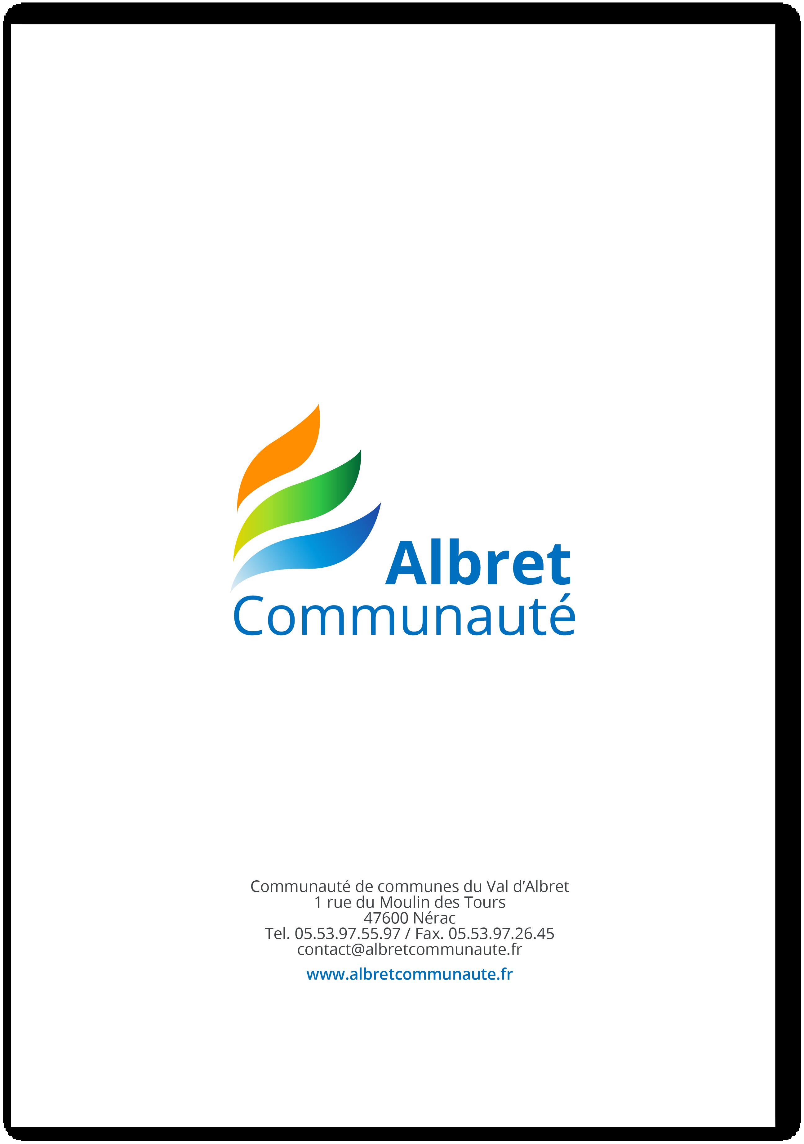 Exemple pochette verso charte graphique Albret Communauté