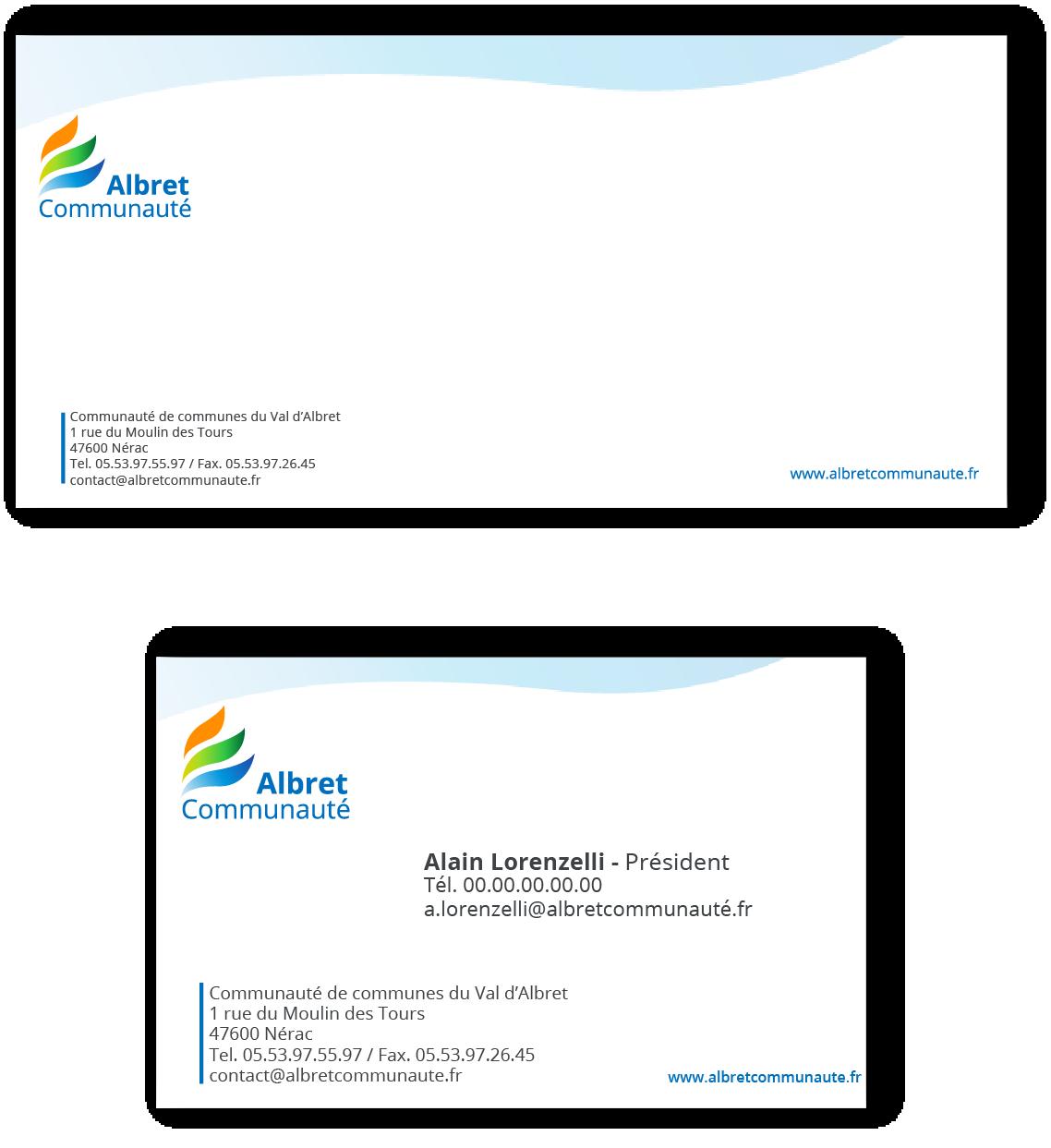Exemple enveloppe et carte de visite charte graphique Albret Communauté