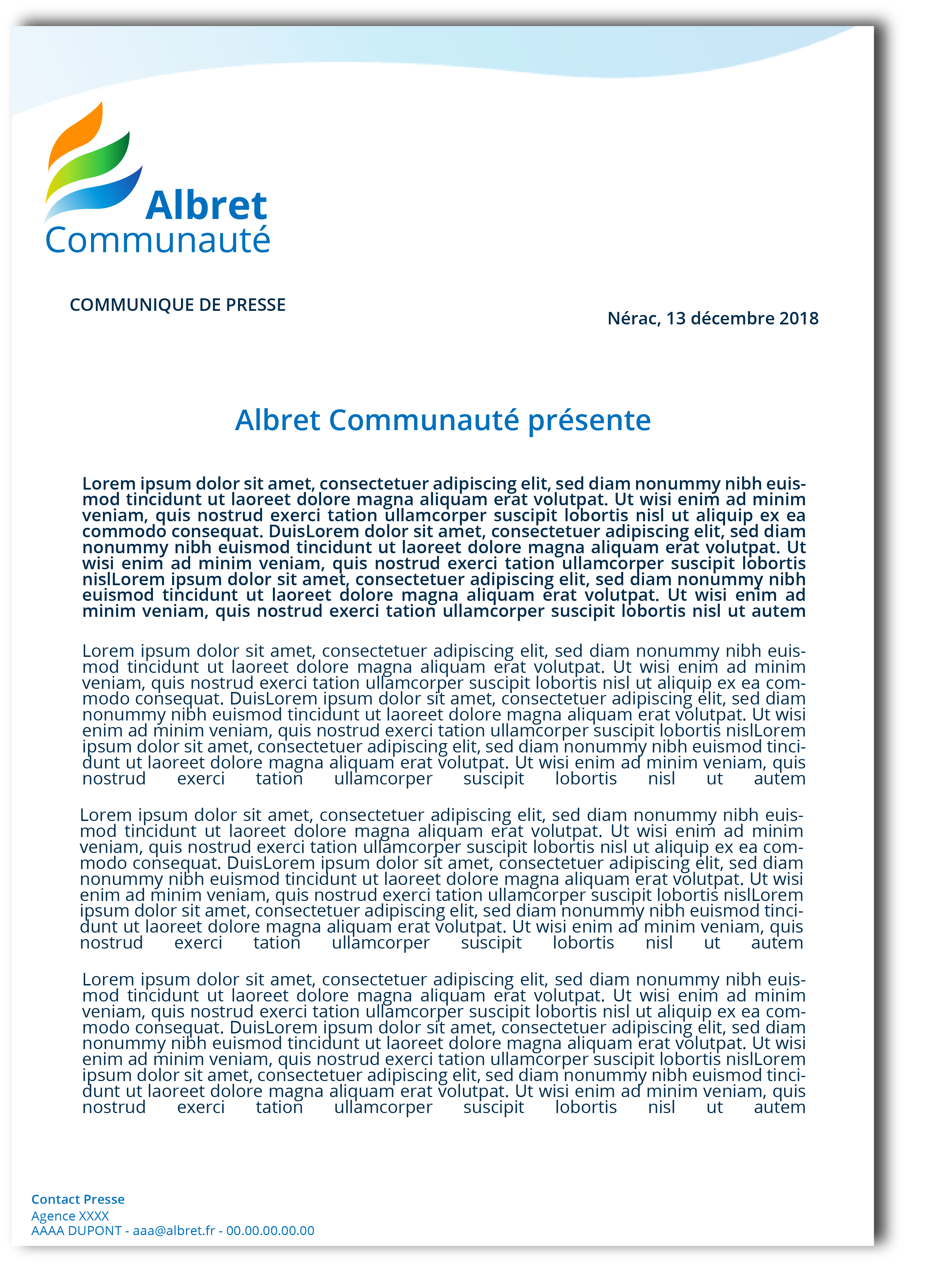 Exemple communiqué de presse charte graphique Albret Communauté