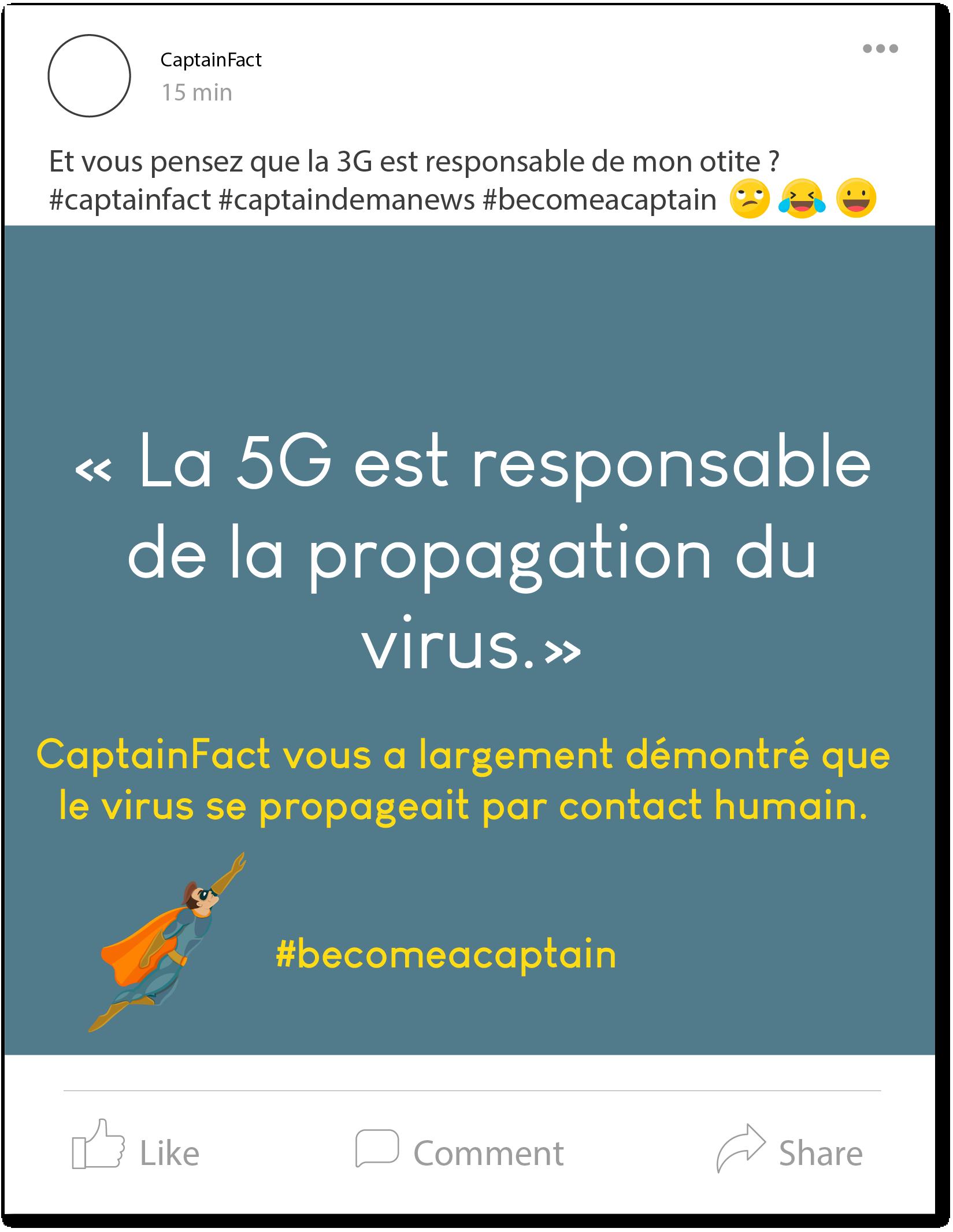 Post Facebook Captain Fact.