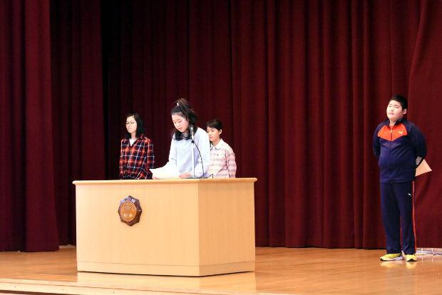 知小2019-3学期始業式 学年代表の感想発表