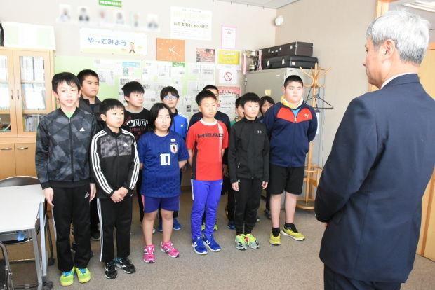 知小2019-ドッヂボール全道大会出発前のあいさつ