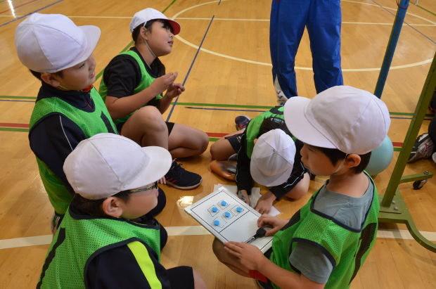 知小2018-4年生の体育の公開授業で話し合ってさくせんを立てる子供たち