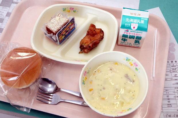 知小2018-給食にクリスマスケーキ